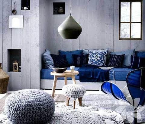 Mavi renkte oturma odası fikirleri