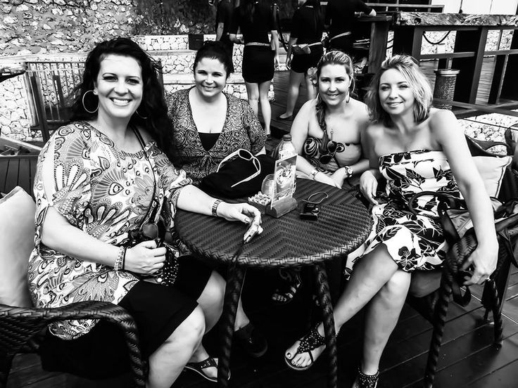 All us girls waiting for our drinks at the Rock Bar.. Bali Indonesia :)