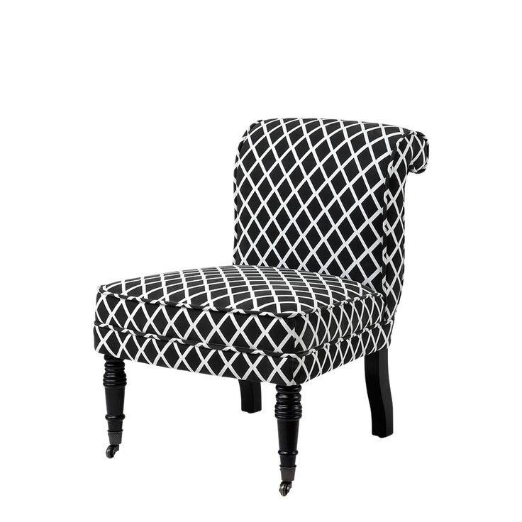 £297.00ea Berceau chair with black and white graphic pattern print.