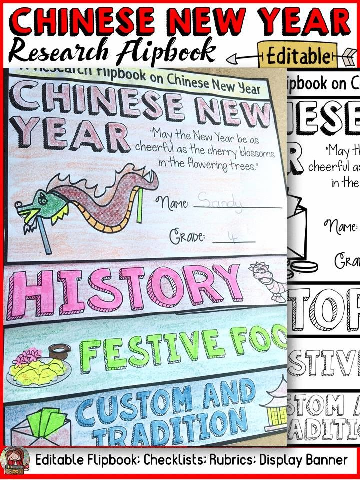 CHINESE NEW YEAR EDITABLE FLIPBOOK: INFORMATIONAL REPORT WRITING RESEARCH TEMPLATES Have your students practice research writing skills by collating and recording information in this editable flipbook on Chinese New Year. The titles, pictures and writing prompts for each section of the flipbook scaffold writing and research. https://www.teacherspayteachers.com/Product/CHINESE-NEW-YEAR-FLIPBOOK-INFORMATIONAL-REPORT-WRITING-RESEARCH-TEMPLATES-3573373