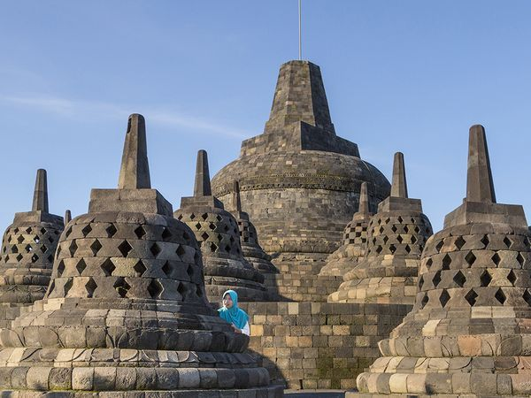 #198. Borobudur Temple. Central Java, Indonesia. Sailendra Dynasty. c. 750-842 CE. Volcanic-stone masonry. National Geographic photographs