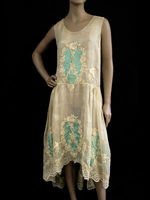"French hand-embroidered cotton voile dress, c.1923. Label: ""Vidalou"""