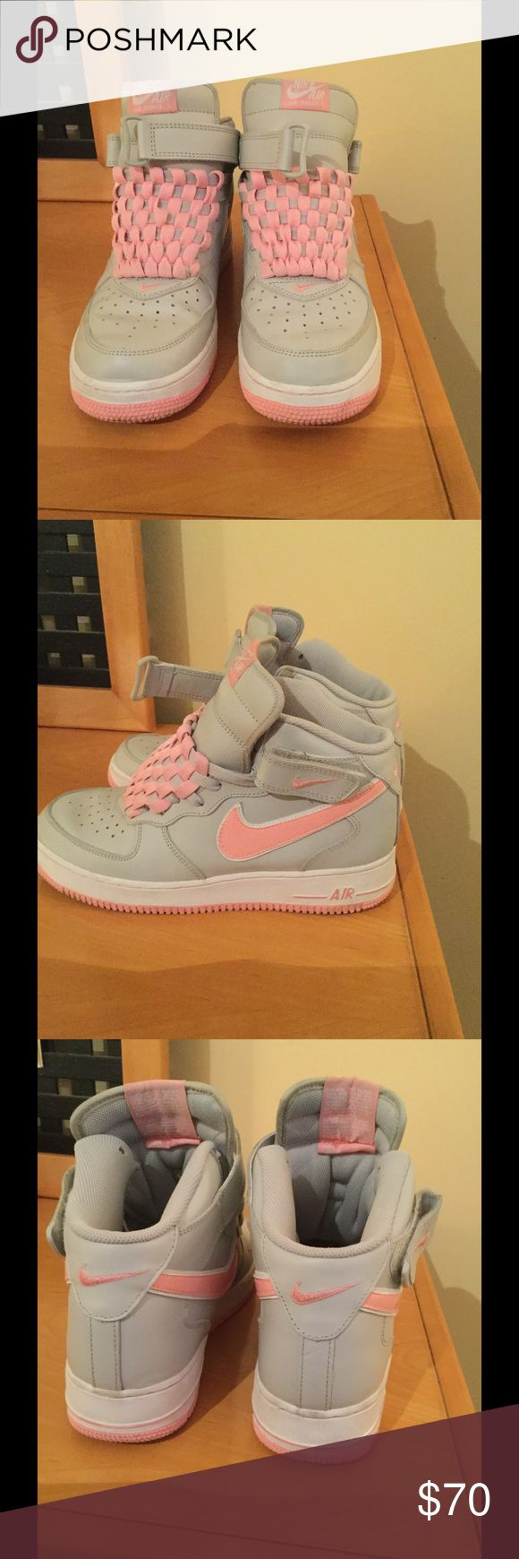 Nike Air Force Mid 1 pink gray athletic shoes In very good preowned condition, no rips or spots ,lots of life left on them . Nike Air Force leather pink and gray athletic shoes .Price firm Nike Shoes Athletic Shoes