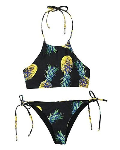 Pineapple Halter Bikini. Swimsuits for teens. Easter gifts for teen girls.