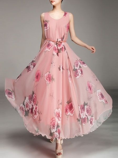 Elegant Round Neck Dacron Floral Printed Maxi-dress - fashionmia.com