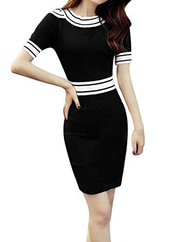 4ad8d81fc560c uxcell Woman Stripes Detail Cut Out Shoulder Stretchy Knitted Bodycon Dress