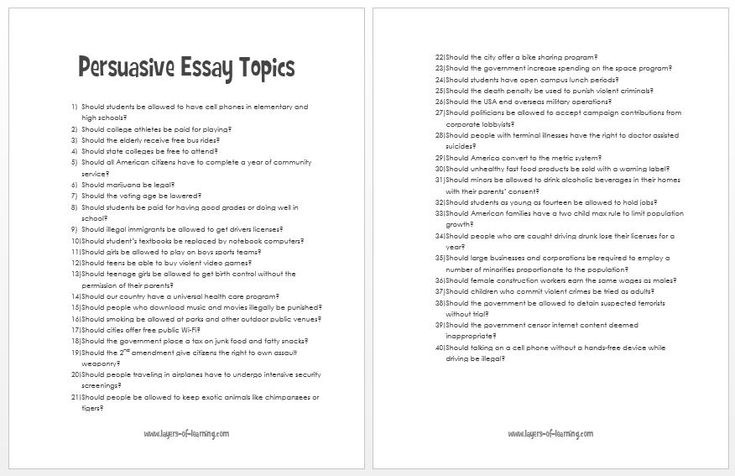 topics persuasive essay The purpose of the persuasive essay is to give an argumentative analysis of a chosen topic use your personal opinions to adjust the reader's point of view.