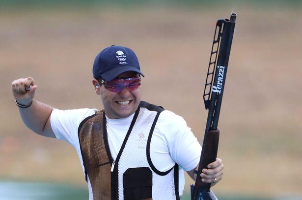 Great Britain's Steven Scott celebrates taking the bronze medal during the men's…