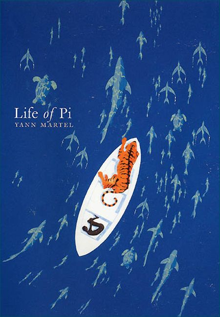 "FANTASY, ADVENTURE: Life of Pi by Yann Martel // Piscine Molitor ""Pi"" Patel, an Indian boy from Pondicherry, explores issues of spirituality and practicality from an early age. He survives 227 days after a shipwreck, while stranded on a boat in the Pacific Ocean with a Bengal tiger."