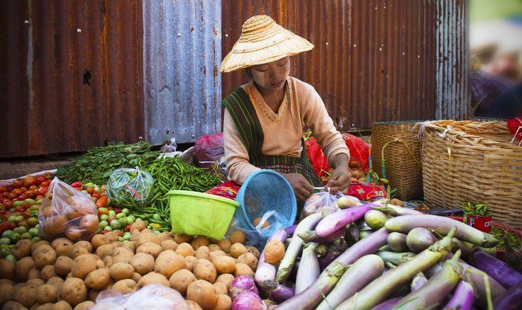 Child selling vegetables in a market.  Market Seller, #Kalaw, #Myanmar