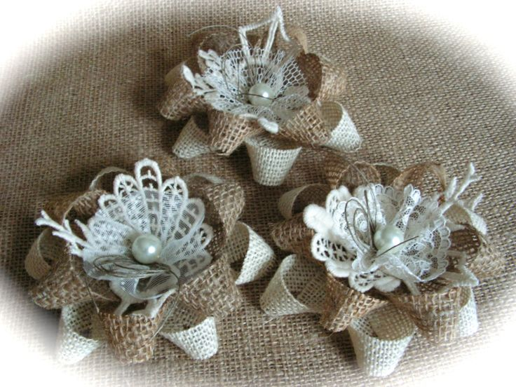Rustic Shabby Chic Burlap And Ivory  Lace Flowers  by Mydaisy2000, $21.00