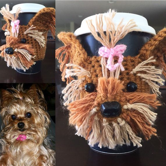Crochet Dog Cozy, Yorkie Mug, Dog Cozy, Coffee Sleeve, Dog Cup, Dog Mug                                                                                                                                                                                 More