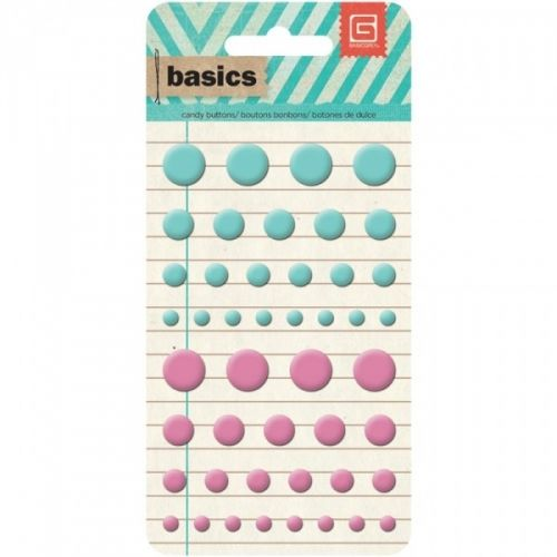 BASICS CANDY BUTTONS EPOXY STICKERS - AQUA & PINK 36 stk DOTS FRA BASIC GREY.  BASIC GREY-Basics Collection: Candy Buttons Epoxy Stickers.This set offers a variety of sizes of candy buttons! This package contains buttons in various colors and sizes on a 3x5-3/4 inch backing sheet. Available in a variety of colors; each sold separately.