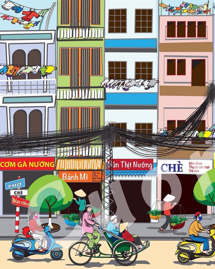 Detail (left) of large mural for Vietnamese pho restaurant.  #PhoRestaurantMural _ #wallart #mural #murals #pho #saigon #saigonese #saigonfood #streetlife #streetfood #vietnamese #vietnamesefood #traffic #moped #scooter #scooters #streetart #restaurantmural #comicart #comicartist #artist #art #illustrator #illustration #illustrations #drawing #drawings #color #picoftheday #artoftheday