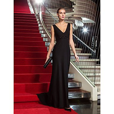 Sheath/Column+V-neck+Sweep/Brush+Train+Jersey+Evening+Dress+inspired+by+Gina+Rodriguez+at+the+Emmys+–+GBP+£+90.47