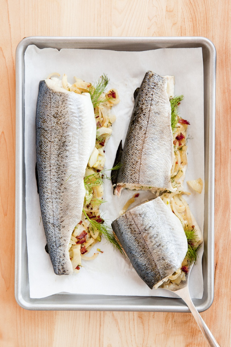 We know you're trying to eat more fish, so here's a recipe that's easy and elegant. And we've included a favorite comfort food: bacon! Serves 4.     Part of the Swedish Healthy Recipes collection (heart healthy, recipe, dinner).