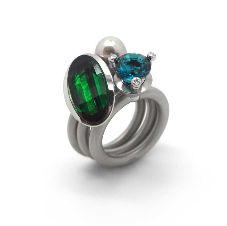 Pur Swivel - Emerald Step Ring Set - ORRO Contemporary Jewellery Glasgow - www.ORRO.co.uk