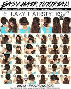 In this hair tutorial video, learn how to create 6 easy, 5 minute, lazy hairstyles for long hair, with braids, messy buns, and ponytails. - #braids #c...