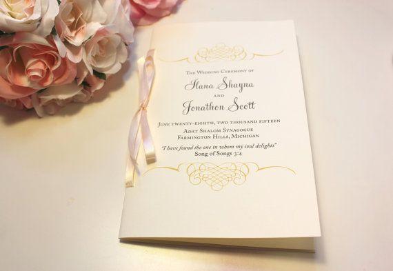 Jewish Wedding Program / Wedding Program Booklets / Blush and Gold Programs / Wedding Booklets / 2 Page Gold Flourish Wedding Program Sample