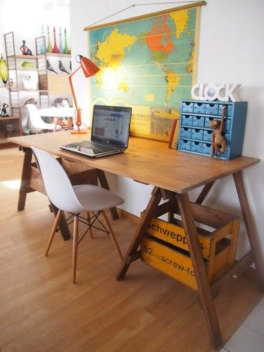 FuNkY vintage INDUSTRIAL wooden TRESTLE TABLE - desk / kitchen / outdoor table | eBay