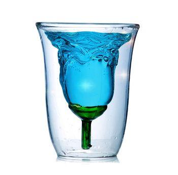 1 шт. любовь розы чашка высокая теплостойкость боросиликатного стекла с двойными художественное стекло красное вино творческая чашка 180 мл