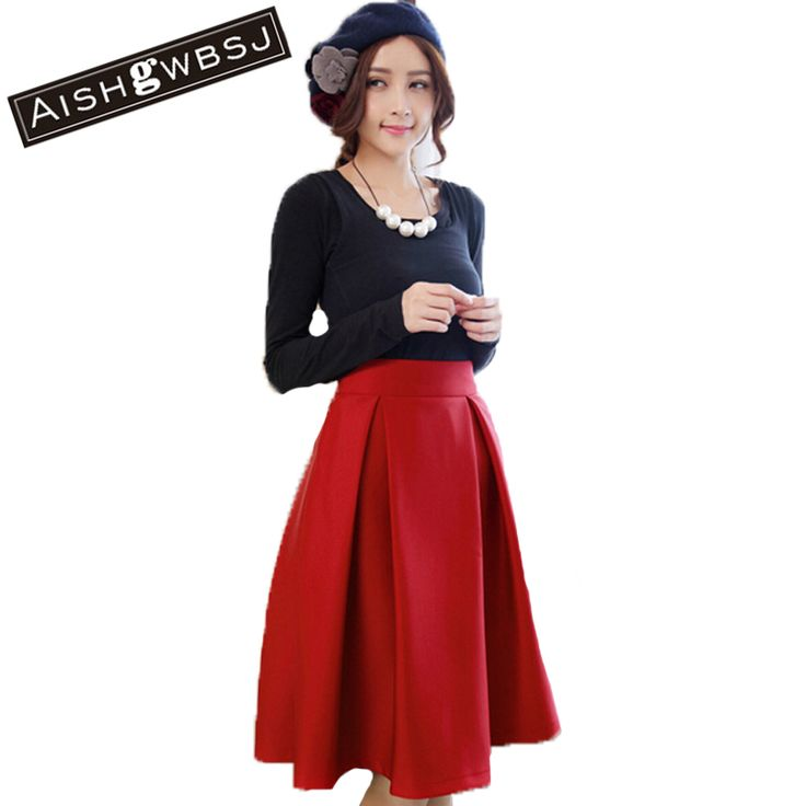 AISHGWBSJ 2017 New Autumn Spring Hepburn Style Retro High Waist Pleated Skirts Women Large Size Umbrella Long Tutu Skirt QT123 #Affiliate