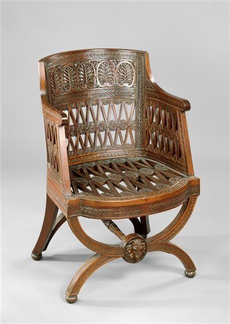 Hubert Robert, Georges Jacob | Fauteuil, sièges de la Laiterie de Marie-Antoinette à Rambouillet | Images d'Art