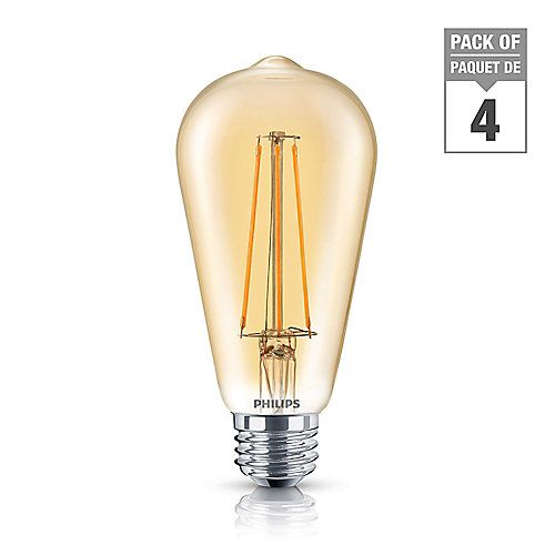 LED 40W ST19 Vintage filament bulb. Amber colour (2000K). Dimmable. Classic style and shape with LED advantages. Energy saving LED bulb mimics nostalgic incandescent filament design. Timeless, decorative appeal - bulbs look great switched on or off. Vintage glow without high energy bills. UL- Wet rated for indoor and outdoor use. Instant-on – delivering beautiful, consistent light. ST19 shape – similar size and shape as traditional filament 40W bulb. Medium base (E26).