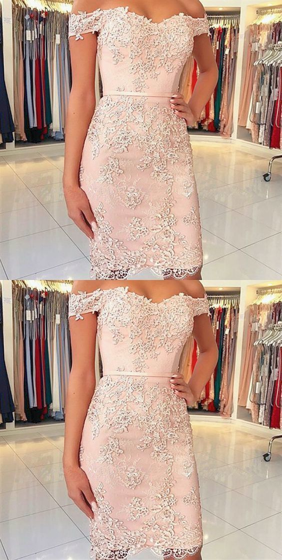 b559aba218f7 Sheath Off the Shoulder Pink Lace Short Prom Dress by MeetBeauty