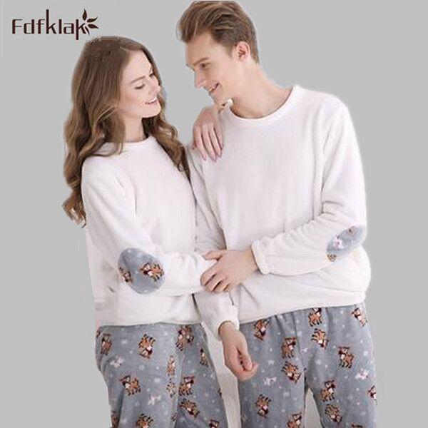 2017 Winter New Women And Men Flannel Pajamas Set Long Sleeve Long Trousers Coral Fleece Warm Pyjamas Couple Tracksuit E0771