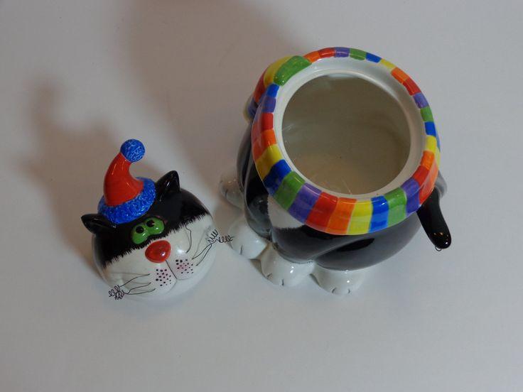 Винтаж Jar Fat Cat Cookie Радуга цвета черный с PopPawsPlace