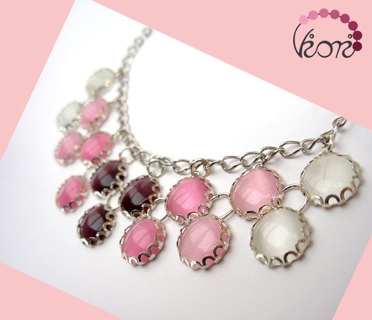 Pink ombre double row glass necklace