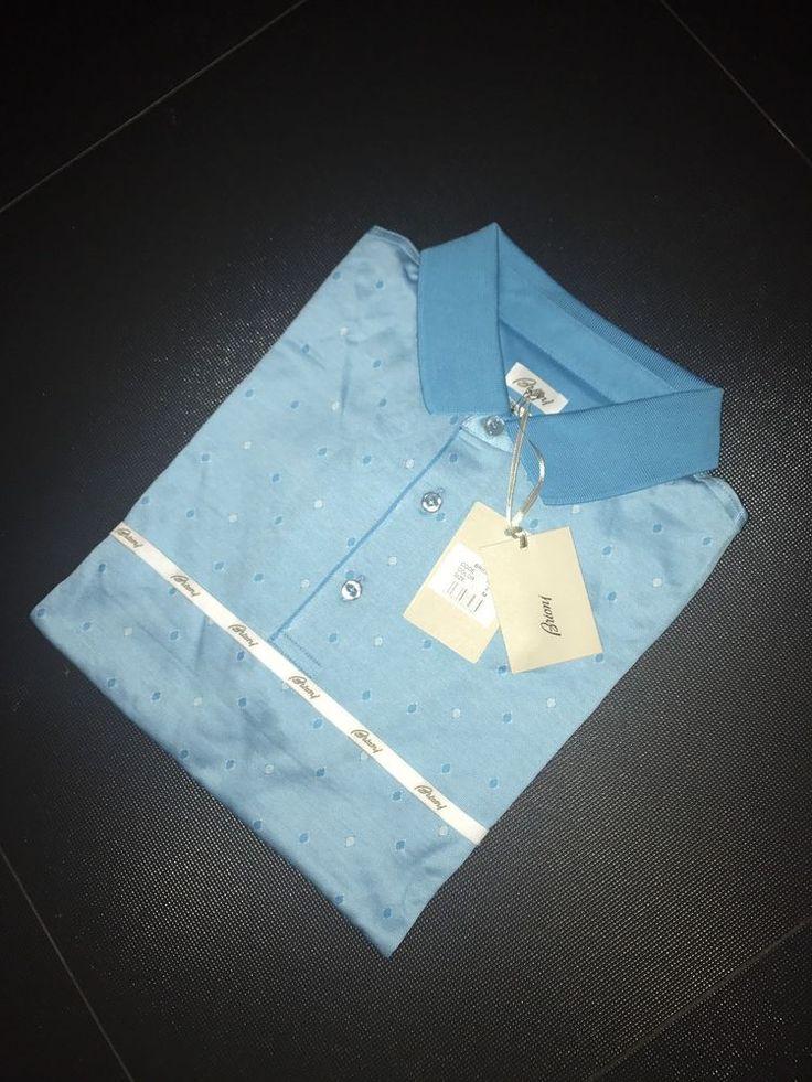 Summer Brioni Polo tshirt size M Color  White Blue Dots #Brioni #BasicTee