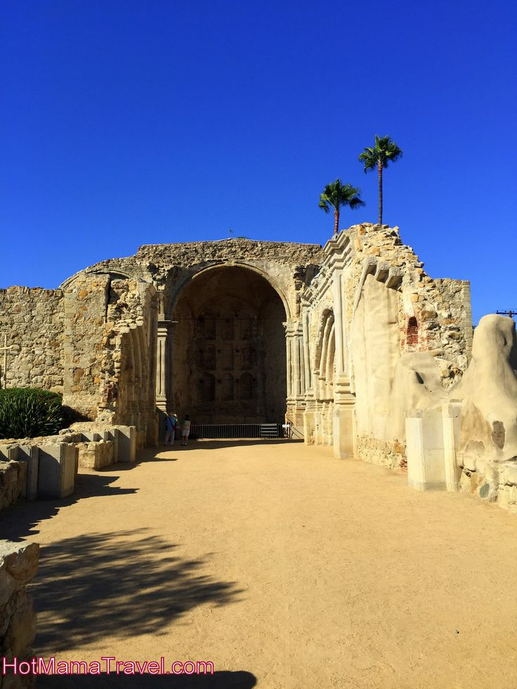 The ruins of the Great Stone Church at Mission San Juan Capistrano in California.