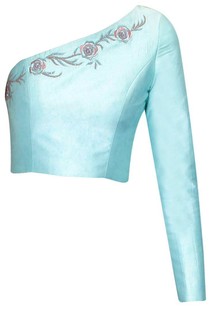 Sky blue rose embroidered one shoulder crop top available only at Pernia's Pop Up Shop.