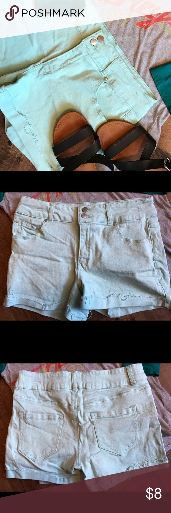 """High Waisted light Mint Green Shorts Fits size 10 rolled up frayed bottom. Have a double button on front and pockets are real. Only worn a few times, color is so light that it looks a little dirty could be fixed with soaking/washing. Can be double rolled at bottom to be made shorter. Waist 32"""" Length 12""""  Inseam 3.5"""" refuge Shorts"""