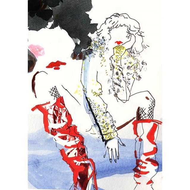 One more lady is ready and looking for November exhibition.  Where and when to come for opening more info next week. #exhibitionprep #fashionillustration #ysl  #fallwinter17 #saintlaurent #mixedmedia #illustrationlady #fashionillustrator #polishillustration #artandfashion #fashionmeetsart #illustrationartist #longboots #red #watercolorillustration #fashionlyk #karolinaniedzielska