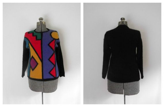 SOLD Vintage Angora Pullover Sweater Geometric by rileybella123 on Etsy, $24.00