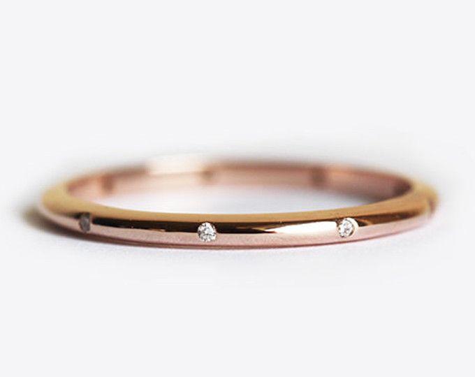 Rose oro diamante boda banda, Simple color de rosa de oro, oro color de rosa venda de eternidad, Micro Pave Diamond banda