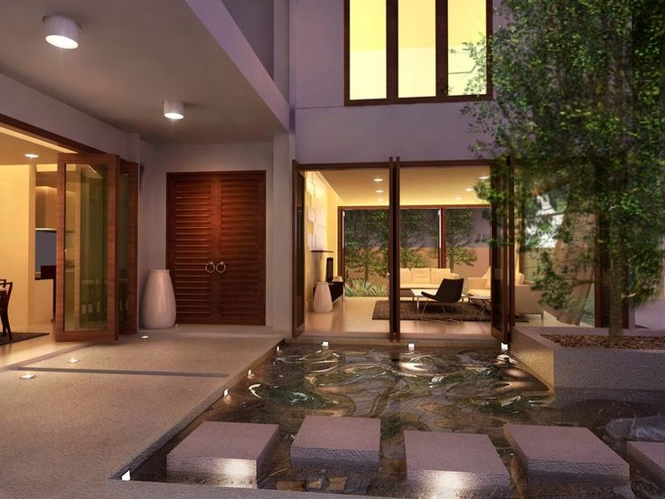 Exterior green home courtyard design ideas green trees for Interior courtyard design ideas