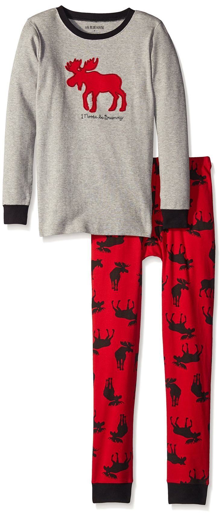 Little Blue House by Hatley Boys' Moose Be Dreaming Pajamas, Gray, 2. Long sleeve, tight-fitting. Elastic waist. Machine washable. 100 percent cotton rib.