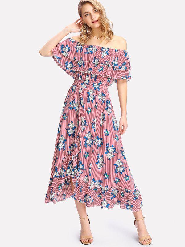 06f41b43cfba Mixed Print Tiered Ruffle Bardot Dress -SheIn(Sheinside ...