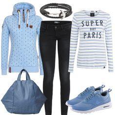 Freizeit Outfits: Paris bei FrauenOutfits.deEin schönes und schickes Outfit ist gleich unbequem? Stimmt nicht! Mit diesem Outfit für Damen zeigen wir euch einen casual Look, der bequem und schick zugleich ist und der als moderner Streetstyle durchgeht! Das Outfit rund um das Superdry Shirt besteht außerdem aus einer Naketano Jacke mit Anker-Muster, einer Liebeskind Tasche, Nike Thea Sneakern in Blau und einem geflochtenem Armband ebenfalls mit Ankermotiv!