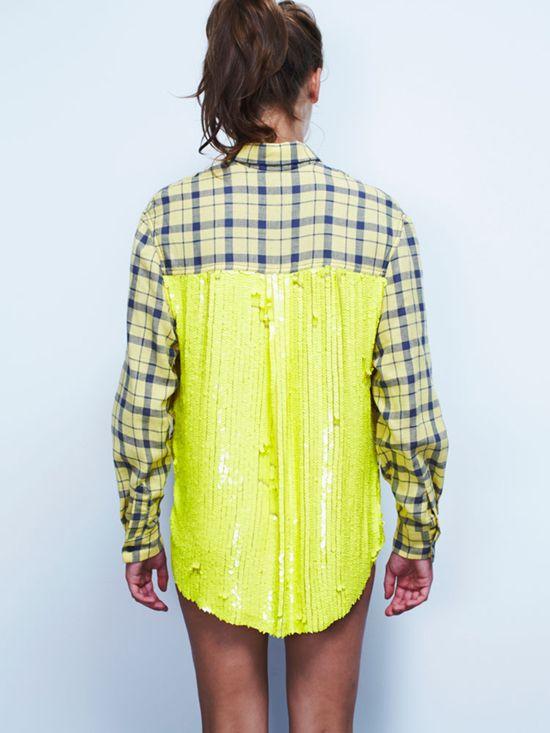 ben shirt by filles a papa // #neon #sequins #flannel