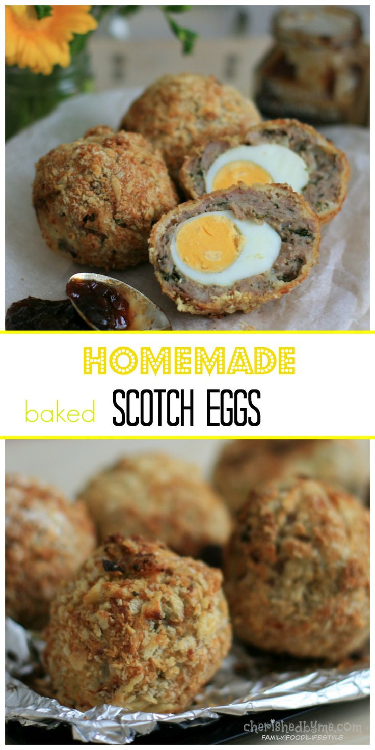 Make homemade healthy-ish scotch eggs! Hard-boiled eggs rolled in sausage and coated with breadcrumbs and  baked or fried. Delish!