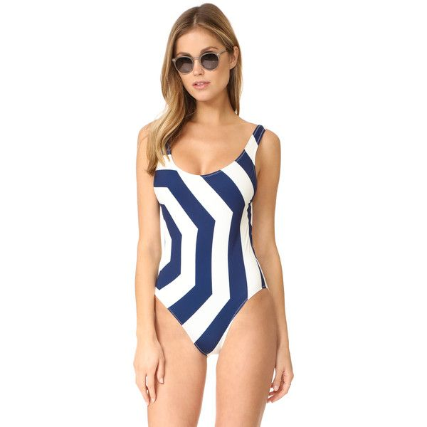 Solid & Striped The Anne Marie One Piece ($165) ❤ liked on Polyvore featuring swimwear, one-piece swimsuits, navy umbrella, one piece bathing suits, navy swimsuit, navy blue bathing suit, navy blue one piece swimsuit and striped swimsuit