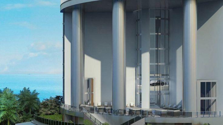 Car elevator in the Porsche Design Tower