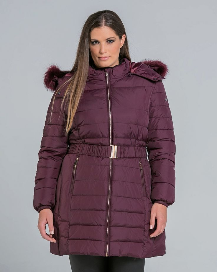 Quilted μπουφάν με faux-fur κουκούλα και ζώνη — mat. XXL sizes — Γυναικεία Ρούχα, Μεγάλα Μεγέθη