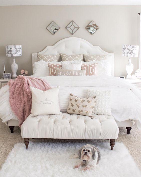 Heavenly bedroom in white and pink     www.bocadolobo.com #bedroomdecorideas #bedroomdecor #masterbedroom #masterbedroomideas #minimalistbedroom #luxurybedroom #dreambedroom