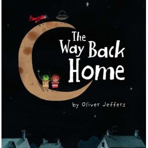 This tells the story of alittle boy whodiscovers an aeroplane in his wardrobe & decides to head for the moon, but finds himself strandedthere.A martian helps him return home again, & the boy returns the favor when the Martian finds he's stranded too. Fun illustrations and a nice tale about imagination &co-operation.